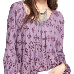 Free People Dazed Print Jersey Top in Purple